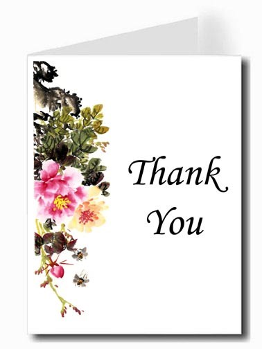 Pink & Yellow Flower Watercolor Thank You Card Set - Monotype Corsiva Font