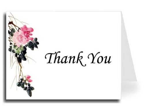 Pink Flower Watercolor Thank You Card Set - Monotype Corsiva Font