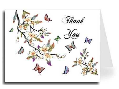 Elegant Butterflies Watercolor Thank You Card Set - ABIGAL Font