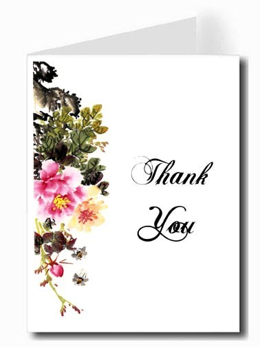 Pink & Yellow Flower Watercolor Thank You Card Set - ABIGAL Font
