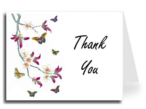 Butterflies Watercolor Thank You Card Set - Freestyle Script Font