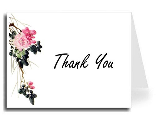 Pink Flower Watercolor Thank You Card Set - Freestyle Script Font