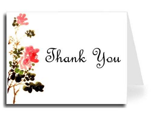 Flower Watercolor Thank You Card Set - French Script MT Font