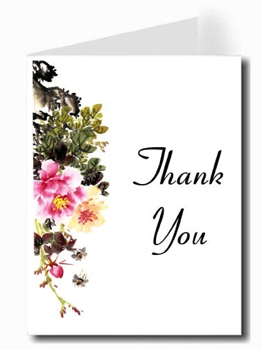 Pink & Yellow Flower Watercolor Thank You Card Set - HUNTSON Font