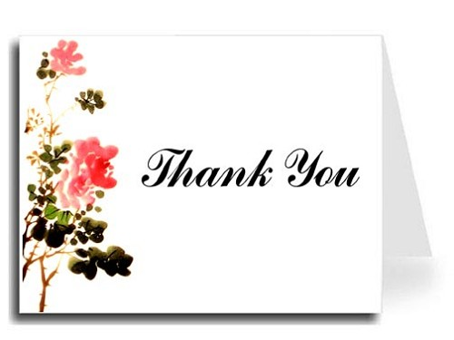 Flower Watercolor Thank You Card Set - Iris Font