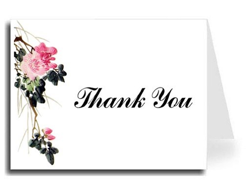 Pink Flower Watercolor Thank You Card Set - Iris Font