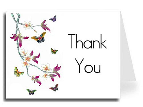 Butterflies Watercolor Thank You Card Set - Maximo Font