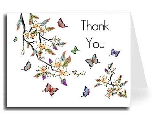 Elegant Butterflies Watercolor Thank You Card Set - Maximo Font