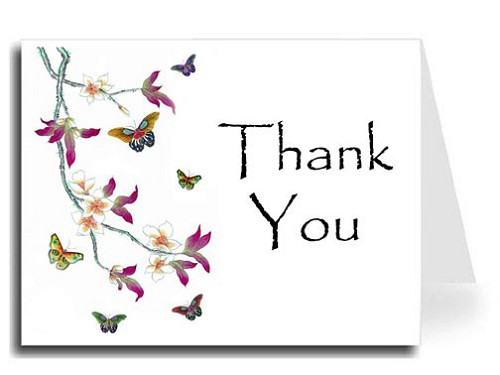 Butterflies Watercolor Thank You Card Set - Papyrus Font
