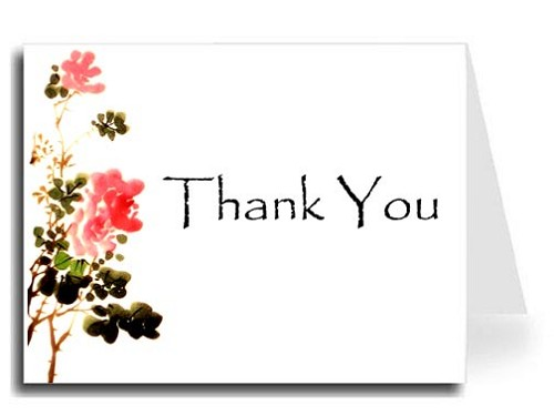 Flower Watercolor Thank You Card Set - Papyrus Font