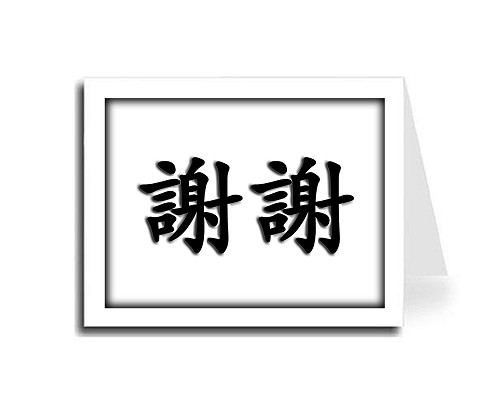 Shadow Frame Traditional Black Chinese Calligraphy Thank You Card Set