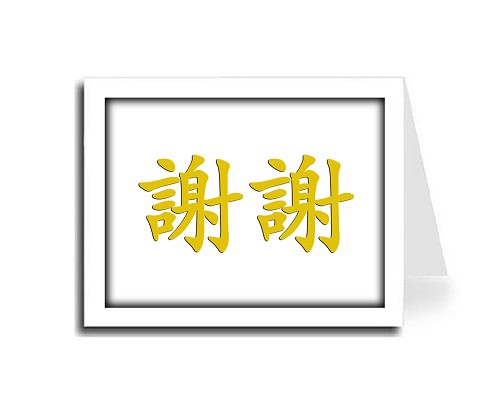 Shadow Frame Traditional Gold Color Chinese Calligraphy Thank You Card Set