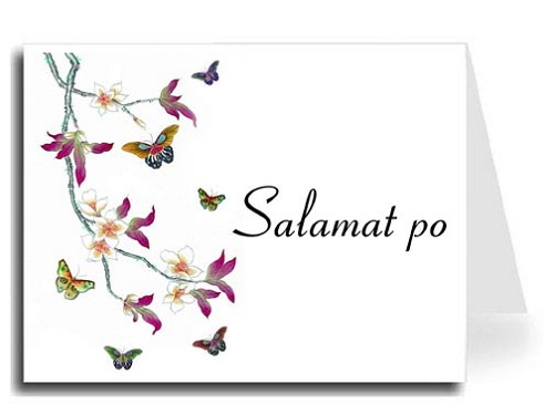 Butterflies Watercolor Tagalog Salamat po Thank You Card Set - Connecticut Font