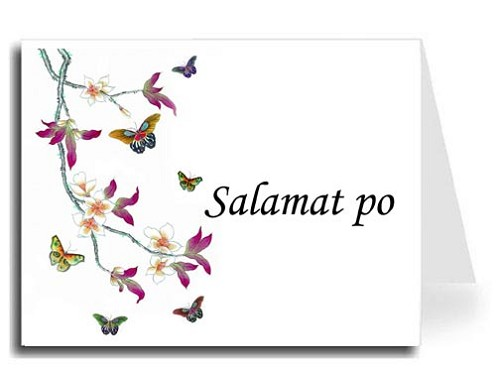 Butterflies Watercolor Tagalog Salamat po Thank You Card Set - Monotype Corsiva Font