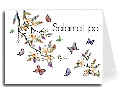 Elegant Butterflies Watercolor Tagalog Salamat po Thank You Card Set - Maximo Font