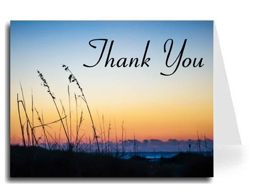 Sunset Beach Thank You Card Set - Connecticut Font