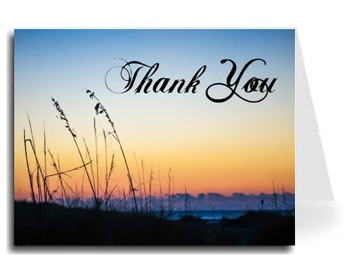Sunset Beach Thank You Card Set - ABIGAL Font