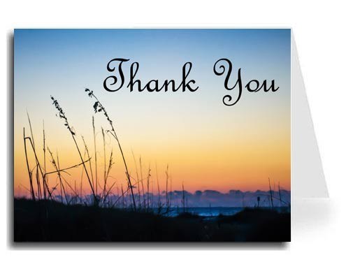 Sunset Beach Thank You Card Set - French Script MT Font