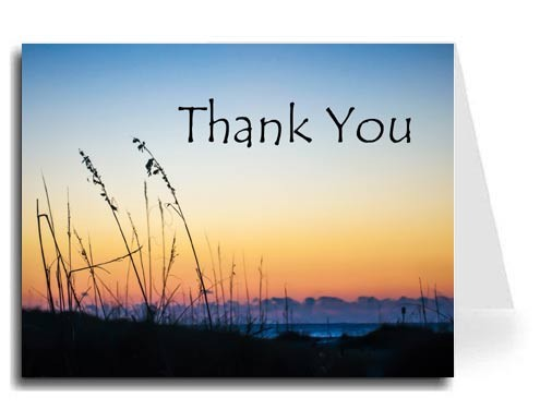 Sunset Beach Thank You Card Set - Tempus Sans ITC Font