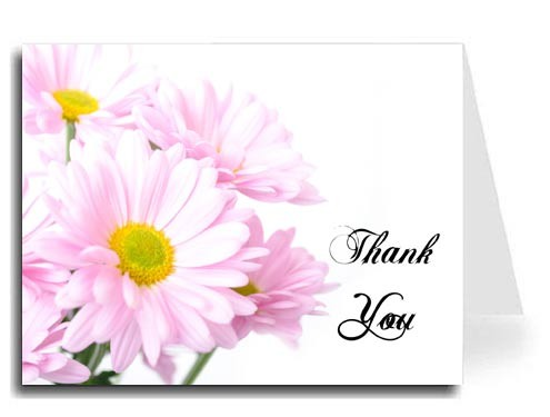 Pink Daisies Thank You Card Set - ABIGAL Font