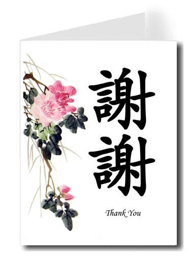 Pink Flower Watercolor Thank You Card Set - Xie Xie & Thank You (Black)