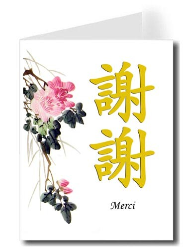 Pink Flower Watercolor Thank You Card Set - Xie Xie & Merci (Gold)