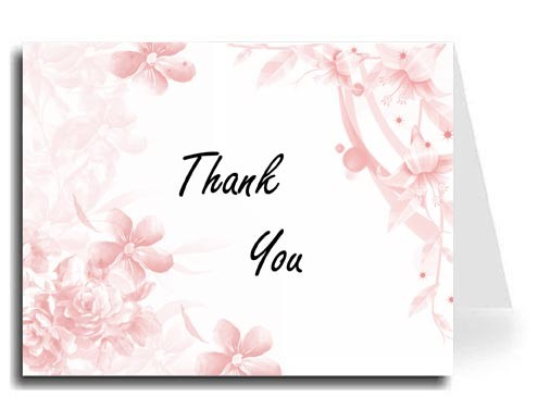 Pink Floral Thank You Card Set - Freestyle Script Font