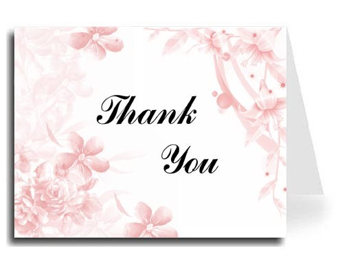 Pink Floral Thank You Card Set - Iris Font