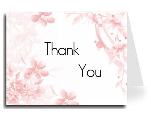 Pink Floral Thank You Card Set - Maximo Font