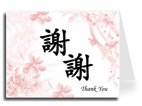Traditional Chinese Calligraphy w/Pink Floral Thank You Card Set - Xie Xie & Thank You (Black)
