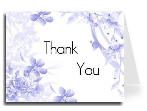 Blue Floral Thank You Card Set - Maximo Font
