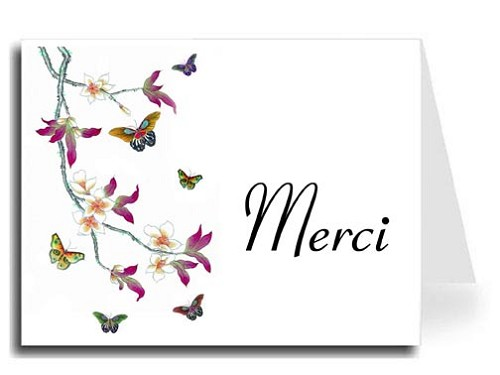 Butterflies Watercolor Merci Card Set - Connecticut Font
