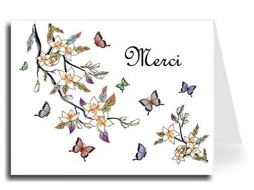 Elegant Butterflies Watercolor Merci Card Set - French Script MT Font