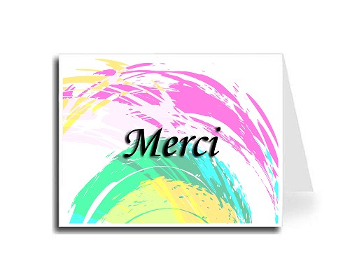 Grunge Rainbow Thank You Card Set - French