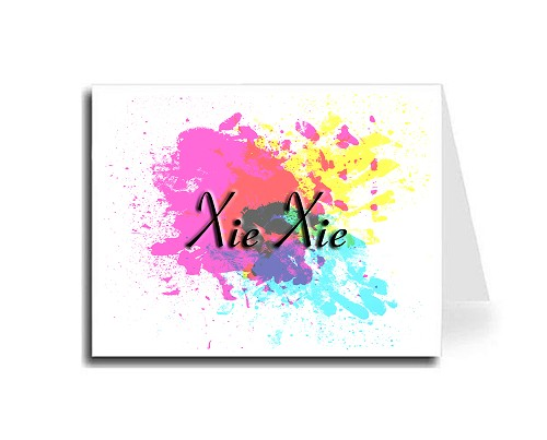 Abstract Art Thank You Card Set - Xie Xie (Connecticut Font)