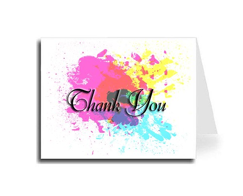 Abstract Art Thank You Card Set - English (Florentine Cursive Font)