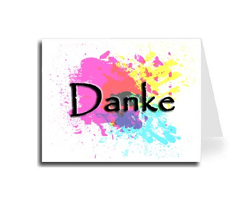 Abstract Art Thank You Card Set - German (Papyrus Font)