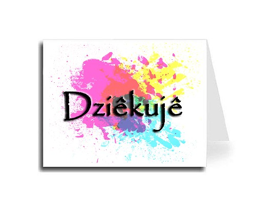 Abstract Art Thank You Card Set - Polish (Papyrus Font)