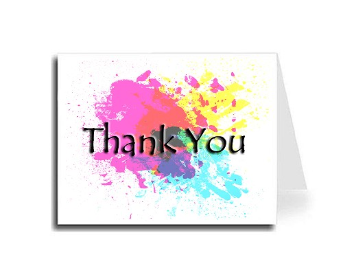 Abstract Art Thank You Card Set - English (Tempus Sans ITC Font)